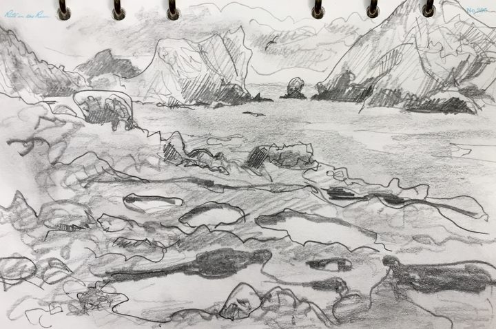 View across tidal pools on Aorangi Island's east coast, towards the Tawhiti Rahi, as sketched by Abby McBride.
