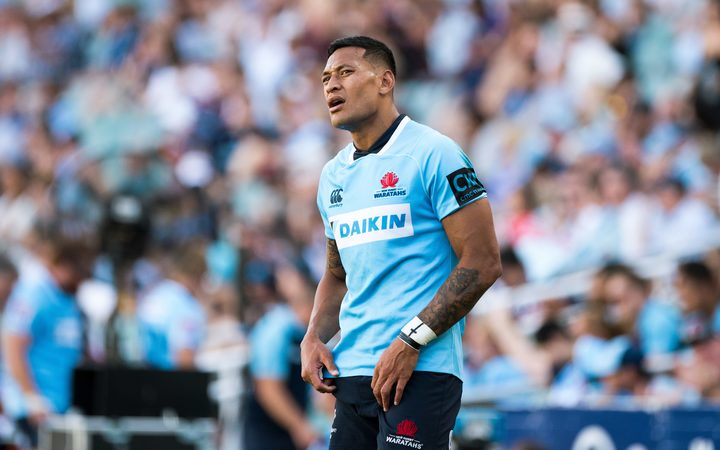 Israel Folau playing for the New South Wales Waratahs in the Super Rugby competition