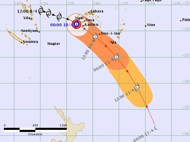 A tracking map issued by the Fiji Metservice showing the forecast trajectory of Cyclone Keni.