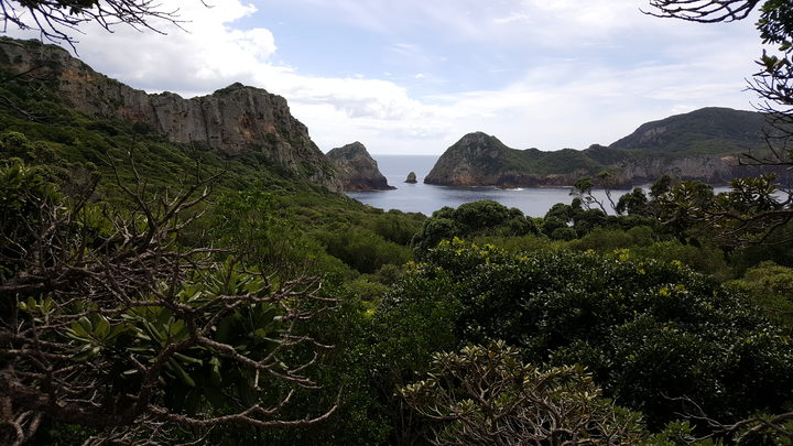 View across Aorangi Island to Tawhiti Rahi, in the Poor Knights group.