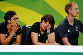 Coach Janine Southby of New Zealand reacts.