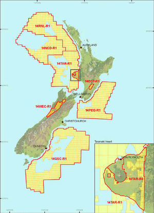 The oil exploration areas identified by the Government as part of its 2014 block offer.