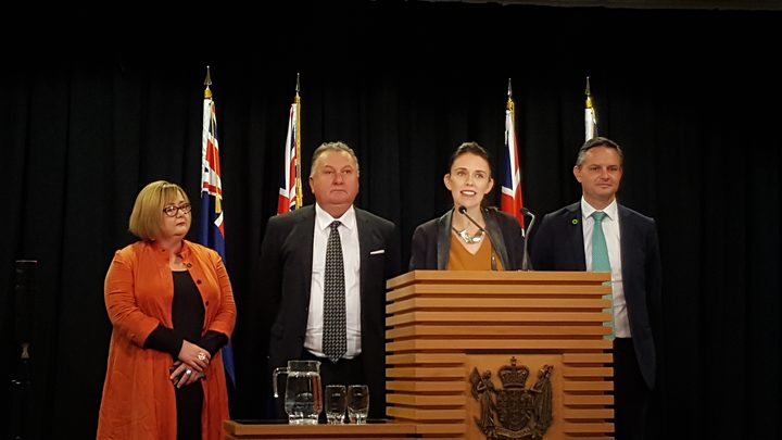 Prime Minister Jacinda Ardern, flanked by Energy and Resources Minister Megan Woods, Regional Development Minister Shane Jones, and Climate Change Minister James Shaw, answers questions about the government's stance on oil and gas exploration.