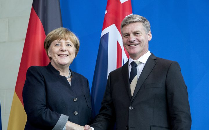 German Chancellor Angela Merkel and the-then s Prime Minister Bill English in Berlin in  January last year.