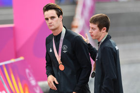 New Zealand's Samuel Gaze with the gold medal and Anton Cooper with the silver at the medal ceremony. Cycling - Mountain Biking. Nerang Mountain Bike Trails. Commonwealth Games, Gold Coast, Australia. Thursday 12 April 2018. © Copyright photo: Andrew Cornaga / www.photosport.nz