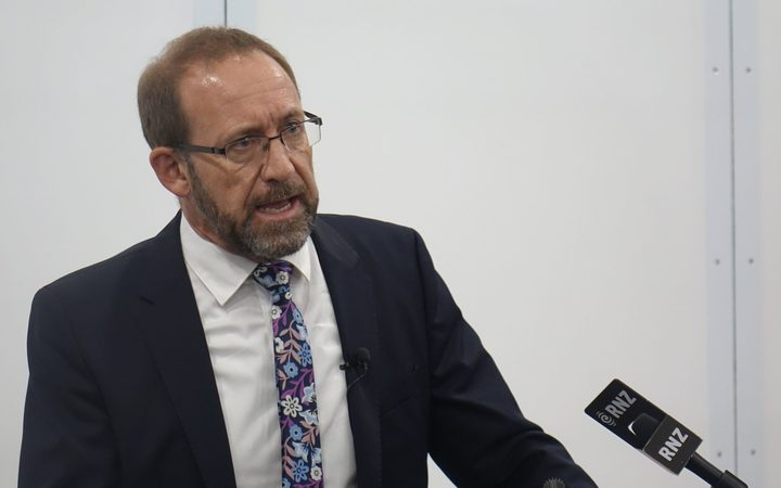 Cabinet MP Andrew Little addressing the public meeting in New Plymouth last night