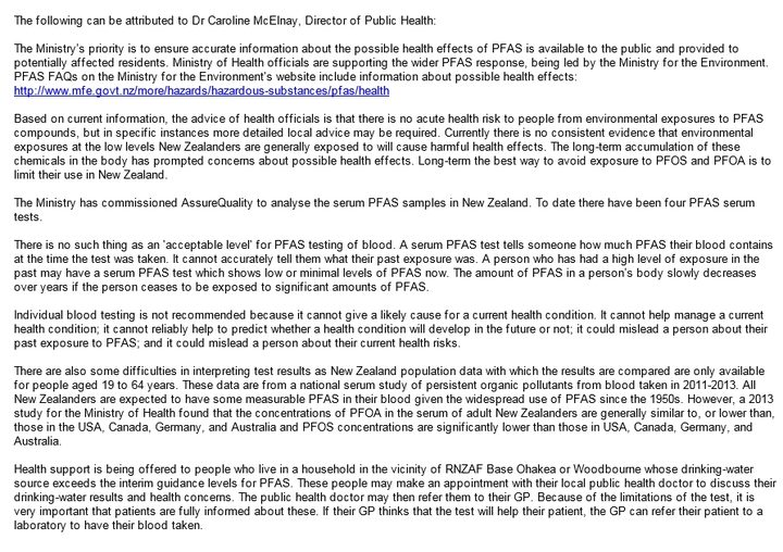 Email statement on PFAS by Ministry of Health director of public health Dr Caroline McElnay, supplied to RNZ's Phil Pennington.