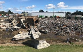 About 100 tonnes of plastic and paper was destroyed in Tuesday night's fire.