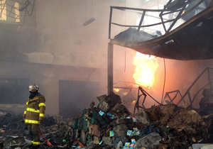 The scene inside the warehouse after the explosion.
