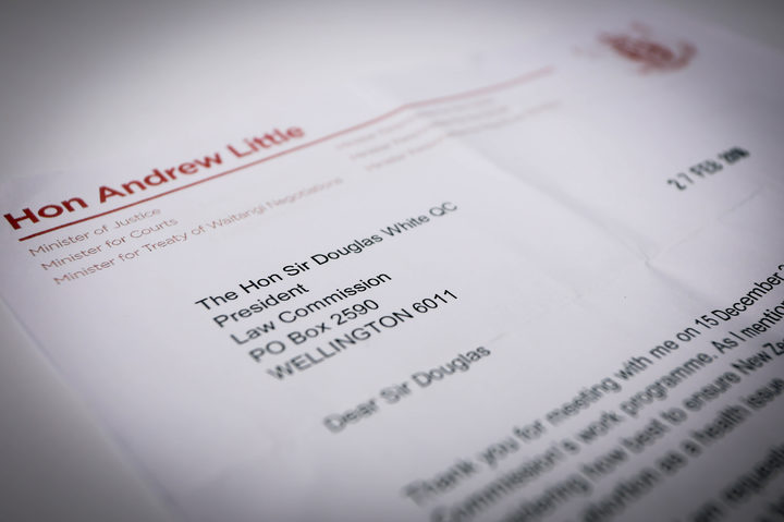 A letter from the Minister of Justice Andrew Little asking the Law Commission for advice on revising abortion law.