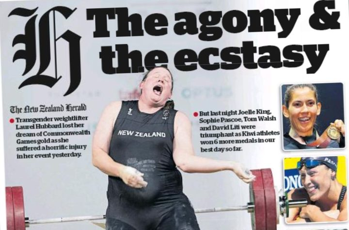 Laurel Hubbard's painful career-ending moment on the Herald's front page.