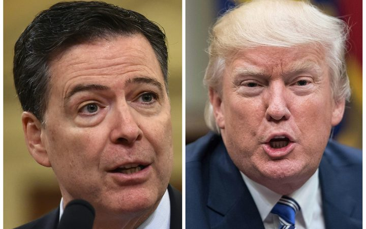 Former FBI Director James Comey and US President Donald Trump.
