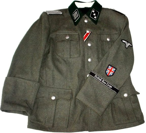 The British Free Corps' uniform featured a Union Jack emblem on the sleeve beneath a Nazi swastika and eagle.