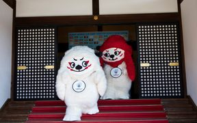 Mascots Ren (L) and G (R) are pictured during a photo session to unveil the official mascots of the Rugby World Cup 2019 in Tokyo