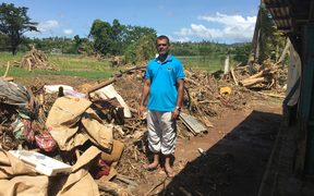 Mohammed Shamim stands by his house near Ba which was devasted during April cyclones