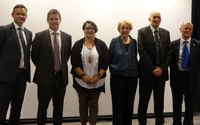 Climate Change Minister James Shaw (L) with the members of the Climate Change Commission committee, (from left) chair David Prentice, Lisa Tumahai, Dr Jan Wright, Dr Harry Clark and Dr Keith Turner.