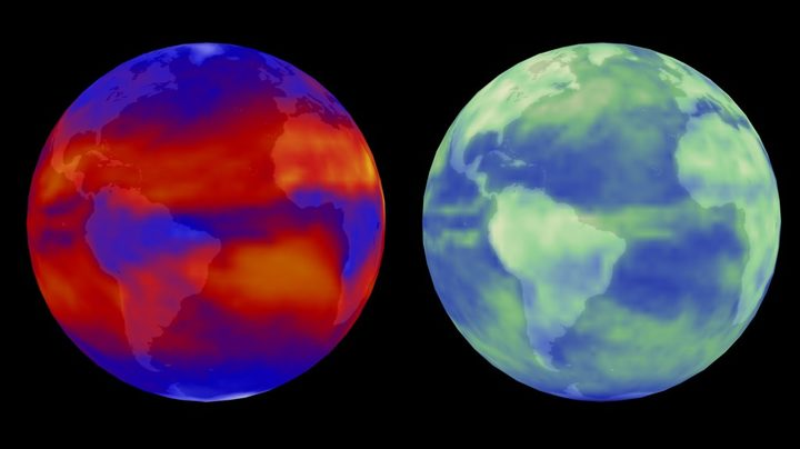 Terra/CERES views the world in outgoing longwave radiation (left) and reflected solar radiation (right).