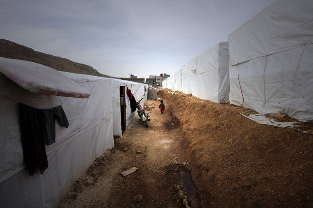 A refugee camp for Syrians in the Bekaa valley in Lebanon.