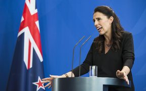 Prime Minister of New Zealand Jacinda Ardern speaks at the Chancellery in Berlin at a news conference held with German Chancellor Angela Merkel yesterday.