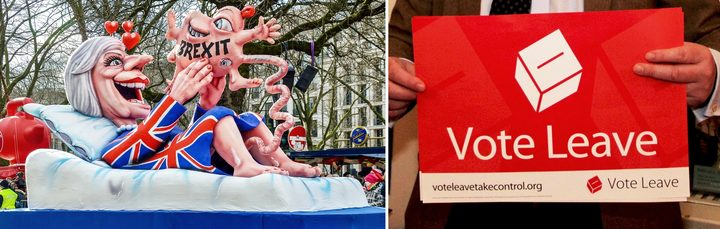 Anti-Brexit protest float, Vote Leave poster