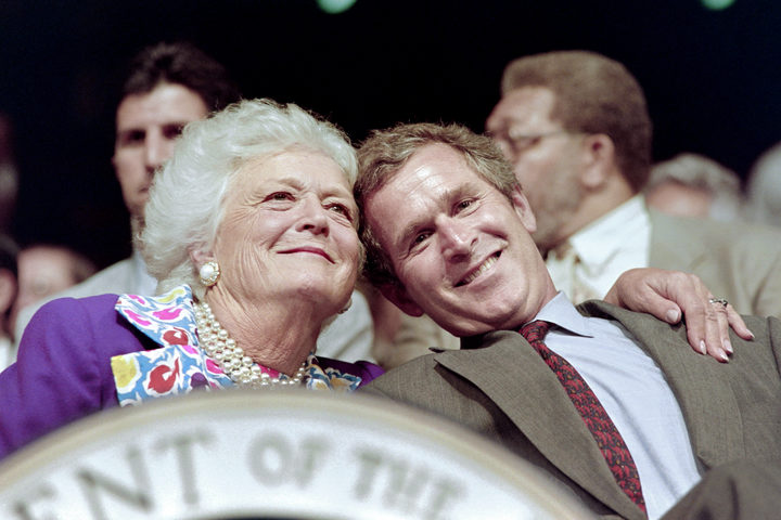 Barbara Bush and her son George W. Bush attend the 1992 Republican National Convention in Houston.