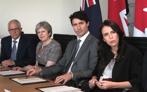 Leaders from four of the Five Eyes nations - Australia's Malcolm Turnbull, Britain's Theresa May, Canada's Justin Trudeau and New Zealand's Jacinda Ardern - meet in London.