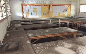The principal of St Patrick's College on Ambae said the ash had spilled into every classroom, forcing the school to close last Friday.