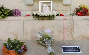The Great Siege monument in Valletta, Malta, became a temporary shrine for Maltese journalist and blogger Daphne Caruana Galizia after she was killed by a car bomb in October.