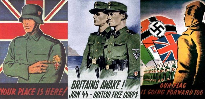 Propaganda posters like these were distributed at PoW camps encouraging prisoners to join the British Free Corps