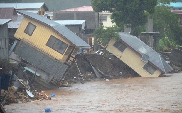 Floodwaters swept away homes in the capital Honiara.