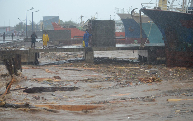 Debris was thrown onto the shore at Honiara's port.
