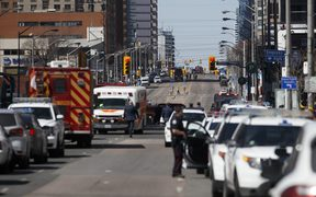 The scene in Toronto where a van plowed into pedestrians.
