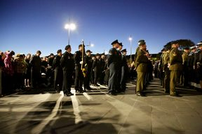 Troops gathered at the Dawn Service in Wellington.