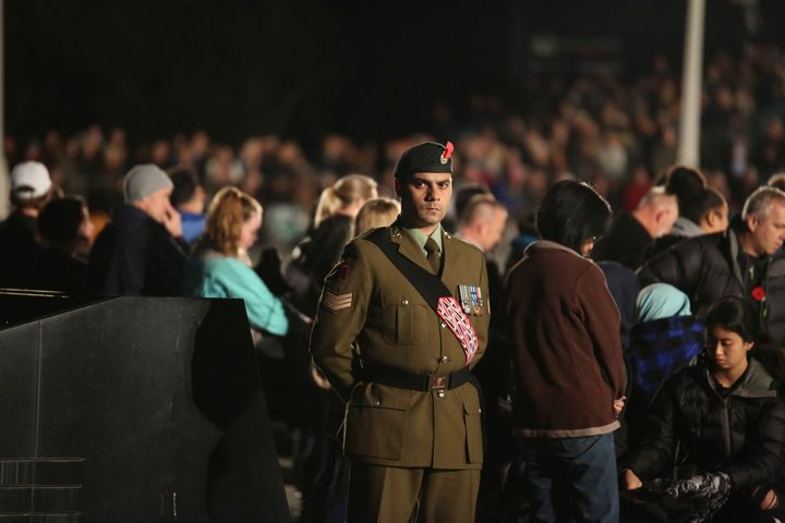 A soldier at the Auckland dawn service at the War Memorial Museum.