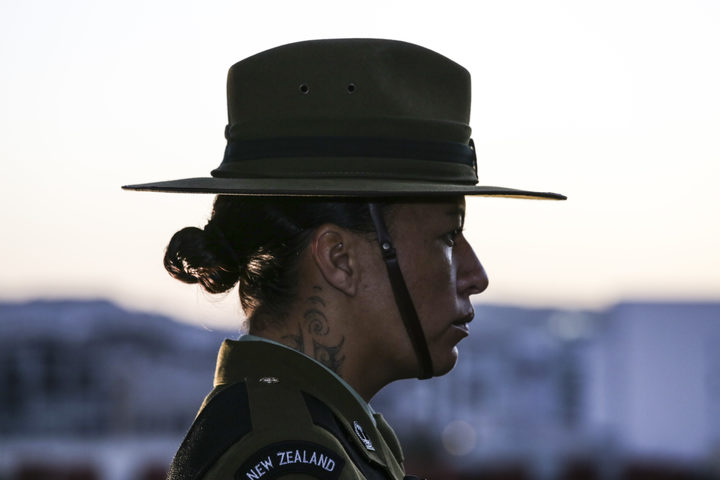 A New Zealand soldier at the Wellington Anzac Day dawn service  in 2018.