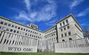 The World Trade Organization (WTO) headquarters are seen in Geneva on April 12, 2018.