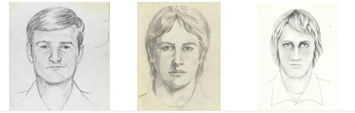"Police drawings of a suspect known as the ""Golden State Killer""."