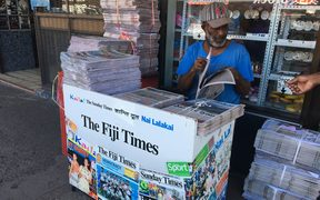 A newspaper stand selling the Fiji Times in Fiji
