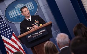 White House physician Rear Admiral Ronny Jackson speaks at the press briefing at the White House in Washington, DC, on January 16, 2018. /