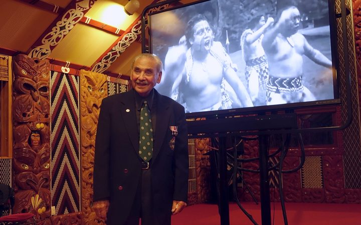 One of the last three living veterans of the 28th Māori Battalion, Robert Gillies of B Company, at the premiere of 'Kia ora'.