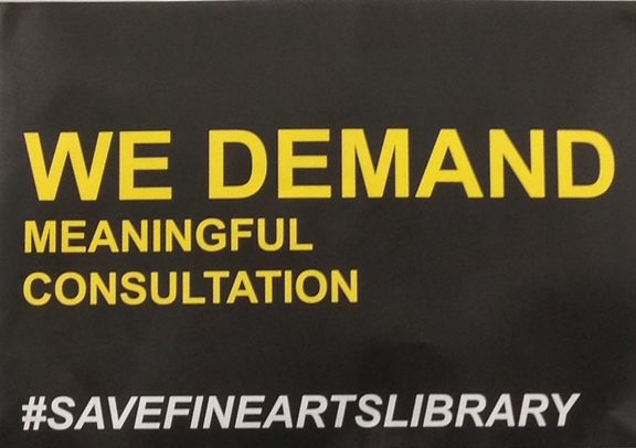 Placard at the Elam Fine Arts Library