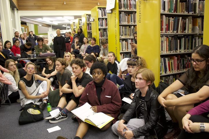 Students at a sit-in at Elam School of Fine Arts Library on April 27
