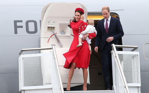 The Duke and Duchess of Cambridge touch down in Wellington with Prince George.