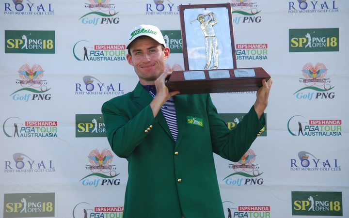 Daniel Gale celebrates winning the PNG Open.