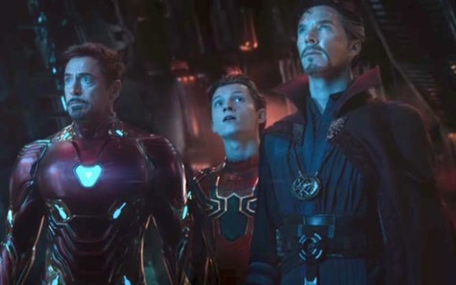 Iron Man, Spider-Man and Doctor Strange in a scene from Avengers: Infinity War.
