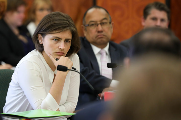 Chloe Swarbrick listens to a submission in Parliament's Transport Select Committee