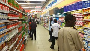 Shoppers at new South African retail giant Shoprite outlet in Kano, Nigeria.