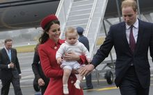 The Duke and Duchess of Cambridge arrive at Wellington Airport at the start of their 2014 tour.