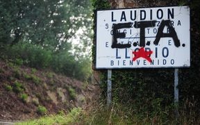 September 6, 2010 graffiti in favour of Basque armed group ETA covers a sign welcoming visitors to the Northern Spanish Basque village of Llodio. 