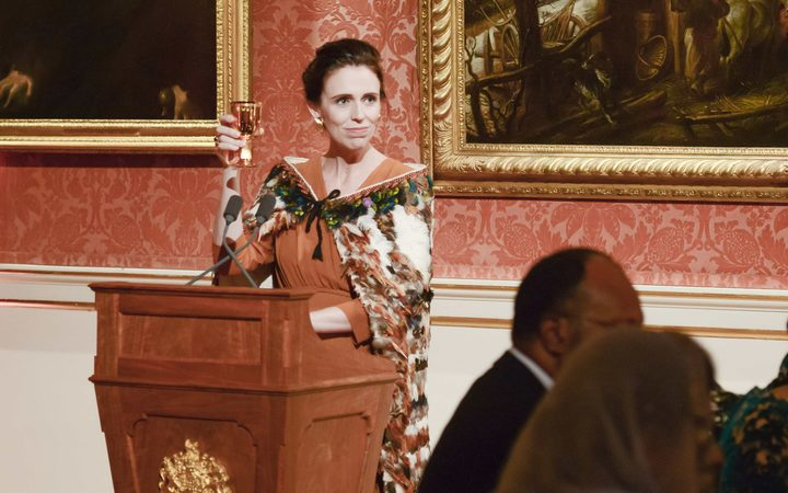 Prime Minister Jacinda Ardern makes a toast to the Commonwealth at a state dinner at Buckingham Palace